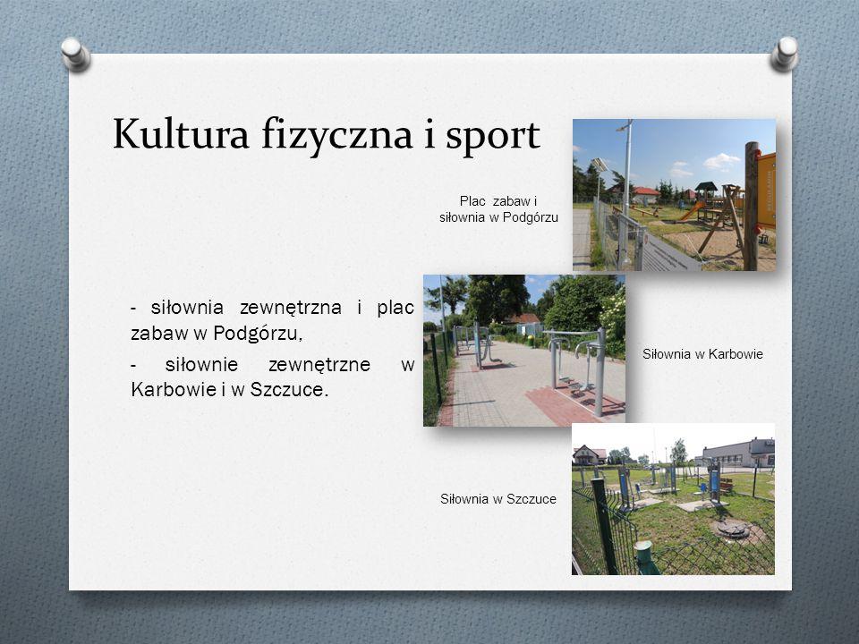 Kultura fizyczna i sport - siłownia zewnętrzna i plac zabaw w Podgórzu, - siłownie zewnętrzne w Karbowie i w Szczuce.