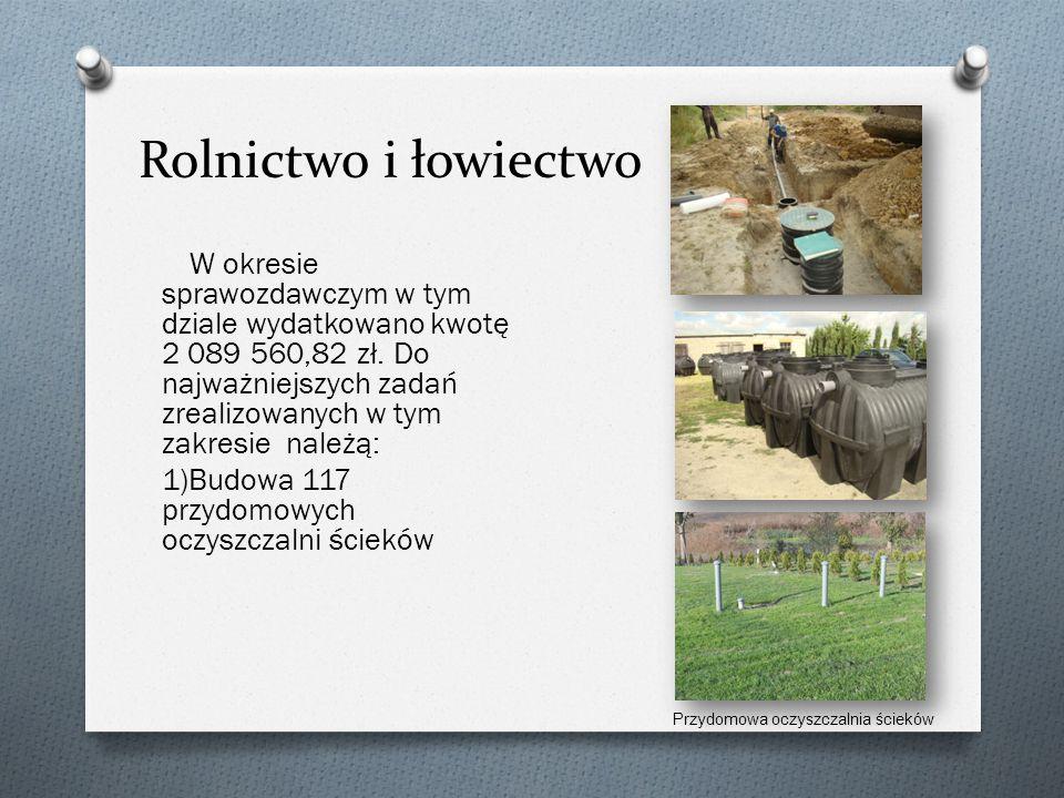Rolnictwo i łowiectwo W okresie sprawozdawczym w tym dziale wydatkowano kwotę 2 089 560,82 zł.