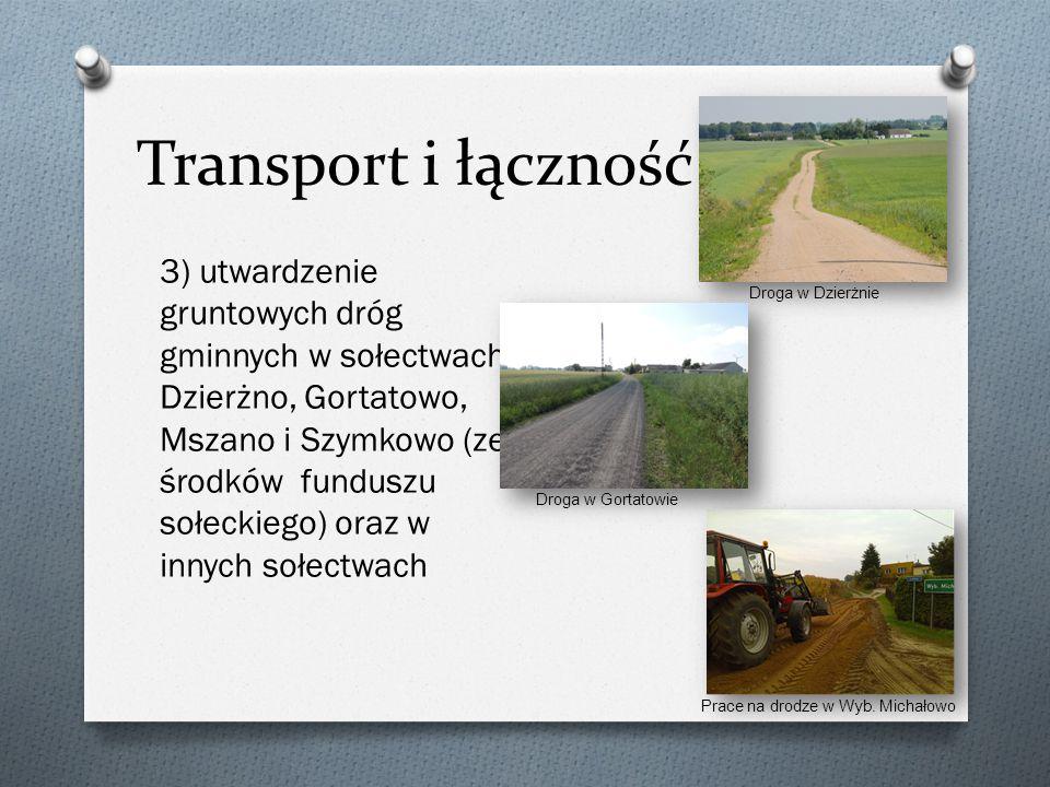 Transport i łączność 4) chodniki: - przy drodze gminnej Gorczenica – Gorczeniczka (o długości 190 m), - przy drodze gminnej Szabda – Belfort (40 m), - przy drodze powiatowej w Szczuce (71 m) W 2014 roku zakupiliśmy także nowy ciągnik z ładowaczem czołowym oraz z osprzętem, który ma służyć do prac przy drogach gminnych.