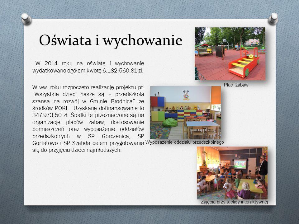 Oświata i wychowanie W 2014 roku na oświatę i wychowanie wydatkowano ogółem kwotę 6.182.560,81 zł.