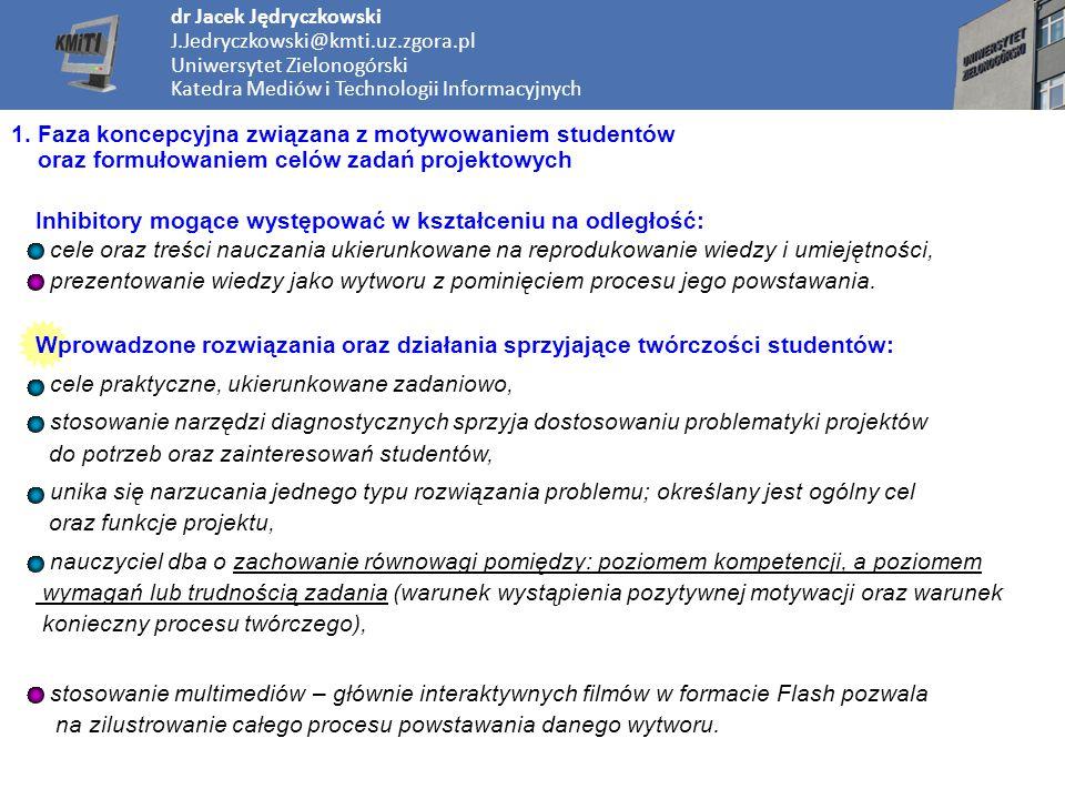 dr Jacek Jędryczkowski J.Jedryczkowski@kmti.uz.zgora.pl Uniwersytet Zielonogórski Katedra Mediów i Technologii Informacyjnych 1. Faza koncepcyjna zwią