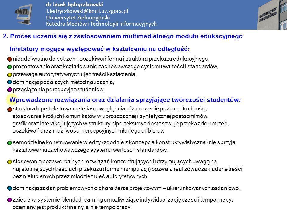 dr Jacek Jędryczkowski J.Jedryczkowski@kmti.uz.zgora.pl Uniwersytet Zielonogórski Katedra Mediów i Technologii Informacyjnych 2.
