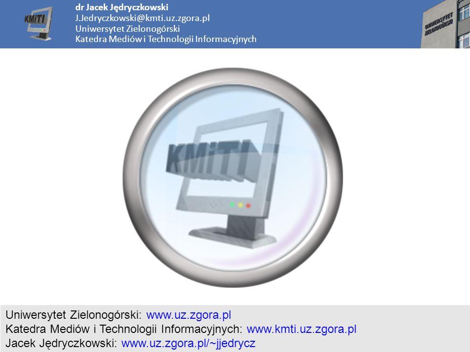 Uniwersytet Zielonogórski: www.uz.zgora.pl Katedra Mediów i Technologii Informacyjnych: www.kmti.uz.zgora.pl Jacek Jędryczkowski: www.uz.zgora.pl/~jje