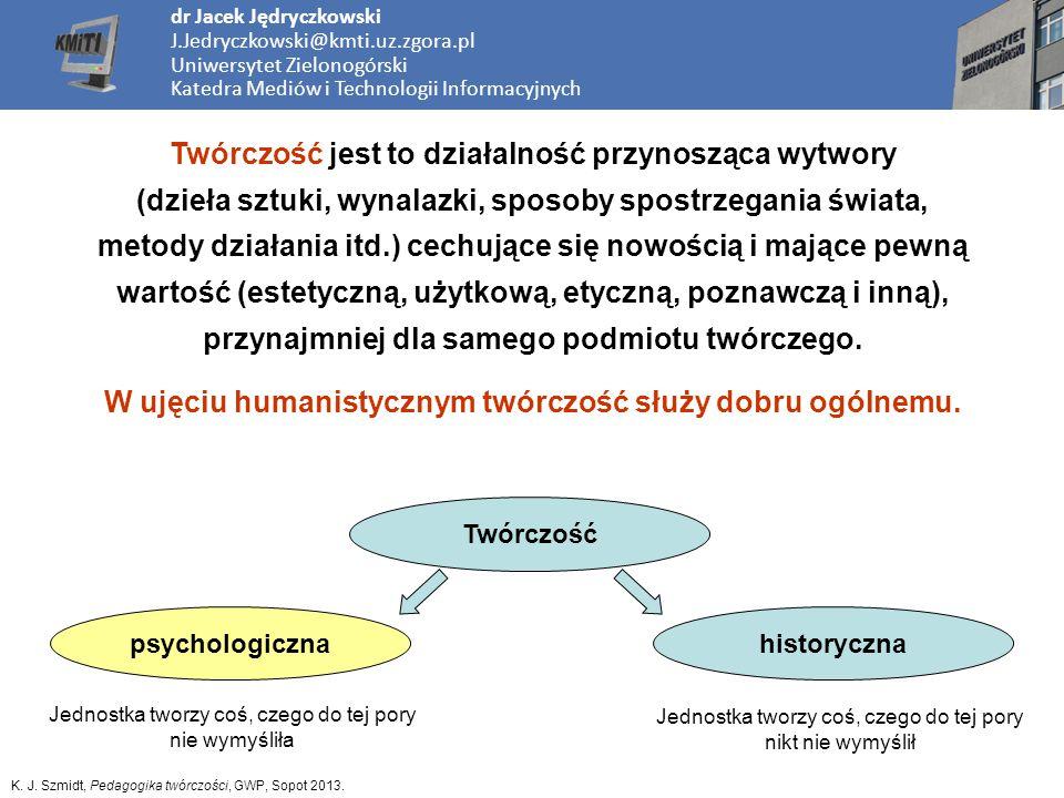 dr Jacek Jędryczkowski J.Jedryczkowski@kmti.uz.zgora.pl Uniwersytet Zielonogórski Katedra Mediów i Technologii Informacyjnych Twórczość jest to działa
