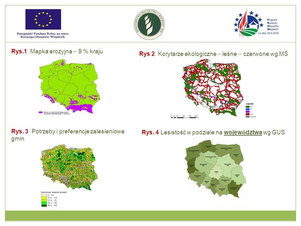 Rys.1 Mapka erozyjna – 9 % kraju Rys 2 Korytarze ekologiczne – leśne – czerwone wg MŚ Rys.