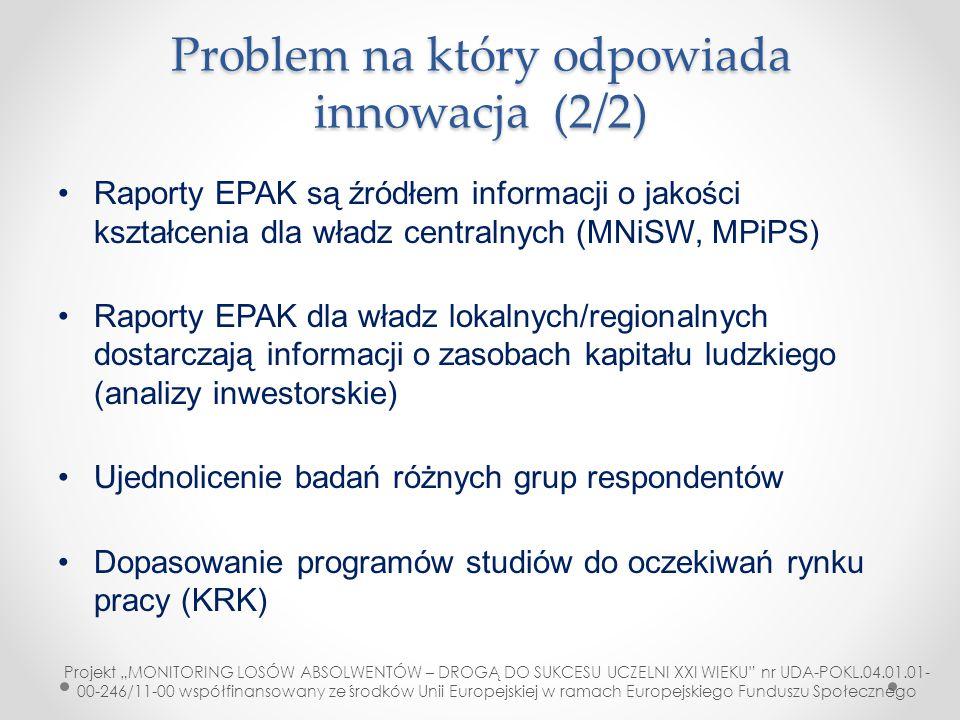 Problem na który odpowiada innowacja (2/2) Raporty EPAK są źródłem informacji o jakości kształcenia dla władz centralnych (MNiSW, MPiPS) Raporty EPAK