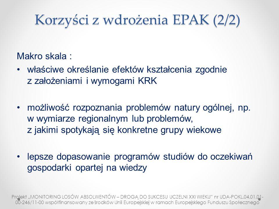 Korzyści z wdrożenia EPAK (2/2) Makro skala : właściwe określanie efektów kształcenia zgodnie z założeniami i wymogami KRK możliwość rozpoznania probl