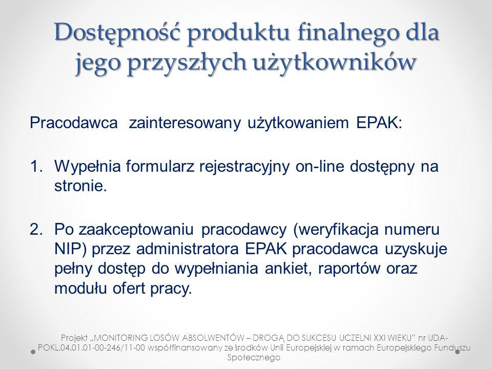 Dostępność produktu finalnego dla jego przyszłych użytkowników Pracodawca zainteresowany użytkowaniem EPAK: 1.Wypełnia formularz rejestracyjny on-line