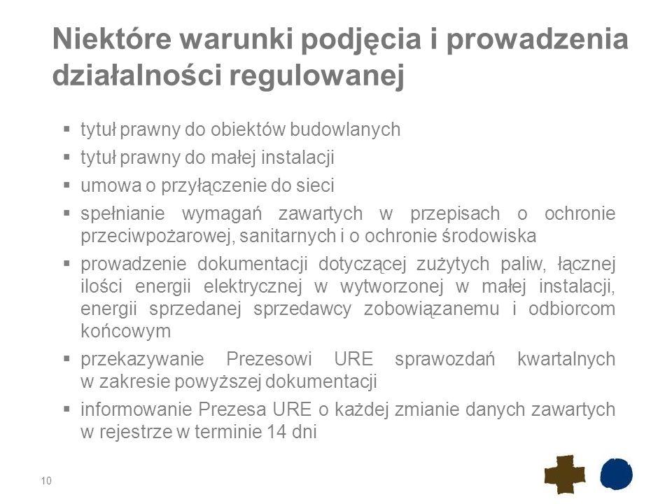 Niektóre warunki podjęcia i prowadzenia działalności regulowanej 10  tytuł prawny do obiektów budowlanych  tytuł prawny do małej instalacji  umowa