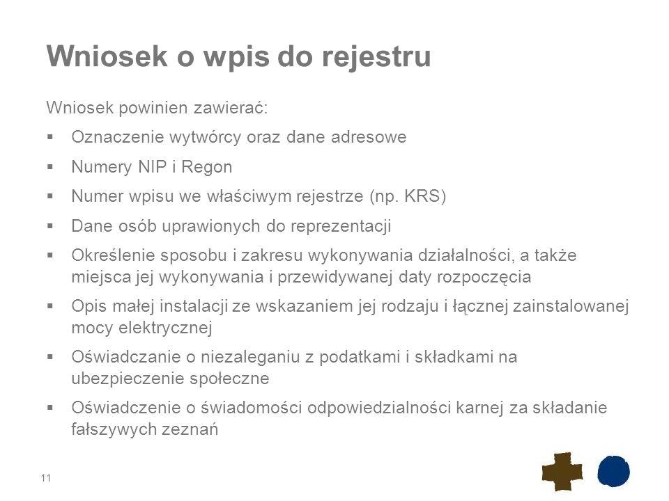 Wniosek o wpis do rejestru Wniosek powinien zawierać:  Oznaczenie wytwórcy oraz dane adresowe  Numery NIP i Regon  Numer wpisu we właściwym rejestr