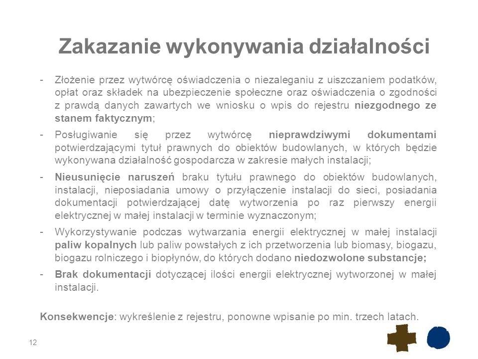 12 Zakazanie wykonywania działalności -Złożenie przez wytwórcę oświadczenia o niezaleganiu z uiszczaniem podatków, opłat oraz składek na ubezpieczenie