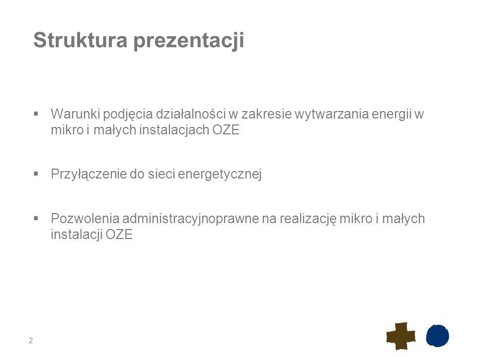 Struktura prezentacji  Warunki podjęcia działalności w zakresie wytwarzania energii w mikro i małych instalacjach OZE  Przyłączenie do sieci energet