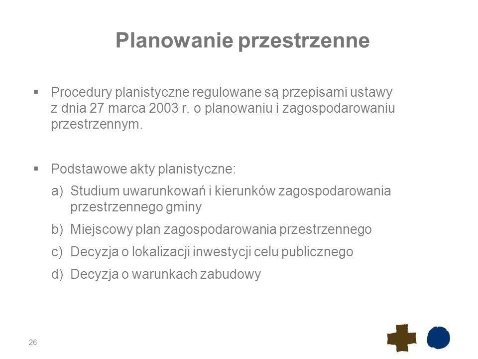 Planowanie przestrzenne  Procedury planistyczne regulowane są przepisami ustawy z dnia 27 marca 2003 r. o planowaniu i zagospodarowaniu przestrzennym