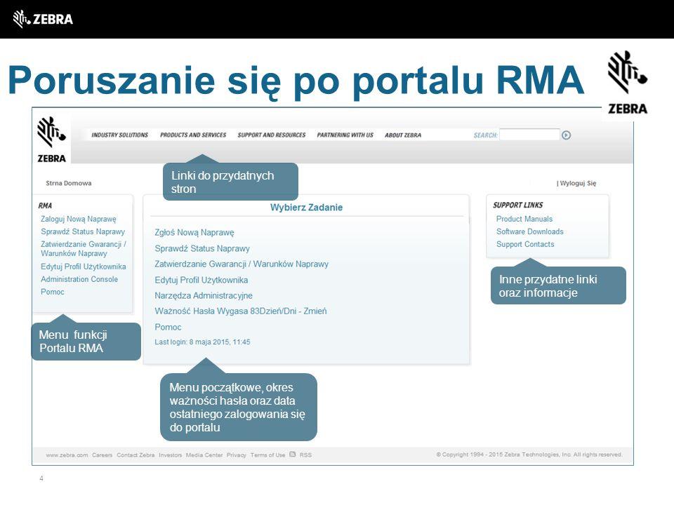 4 Poruszanie się po portalu RMA Linki do przydatnych stron Menu funkcji Portalu RMA Menu początkowe, okres ważności hasła oraz data ostatniego zalogow