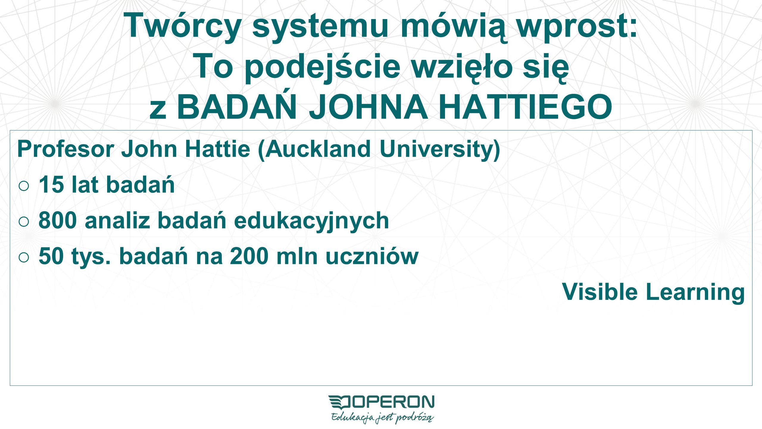 Twórcy systemu mówią wprost: To podejście wzięło się z BADAŃ JOHNA HATTIEGO Profesor John Hattie (Auckland University) ○15 lat badań ○800 analiz badań edukacyjnych ○50 tys.