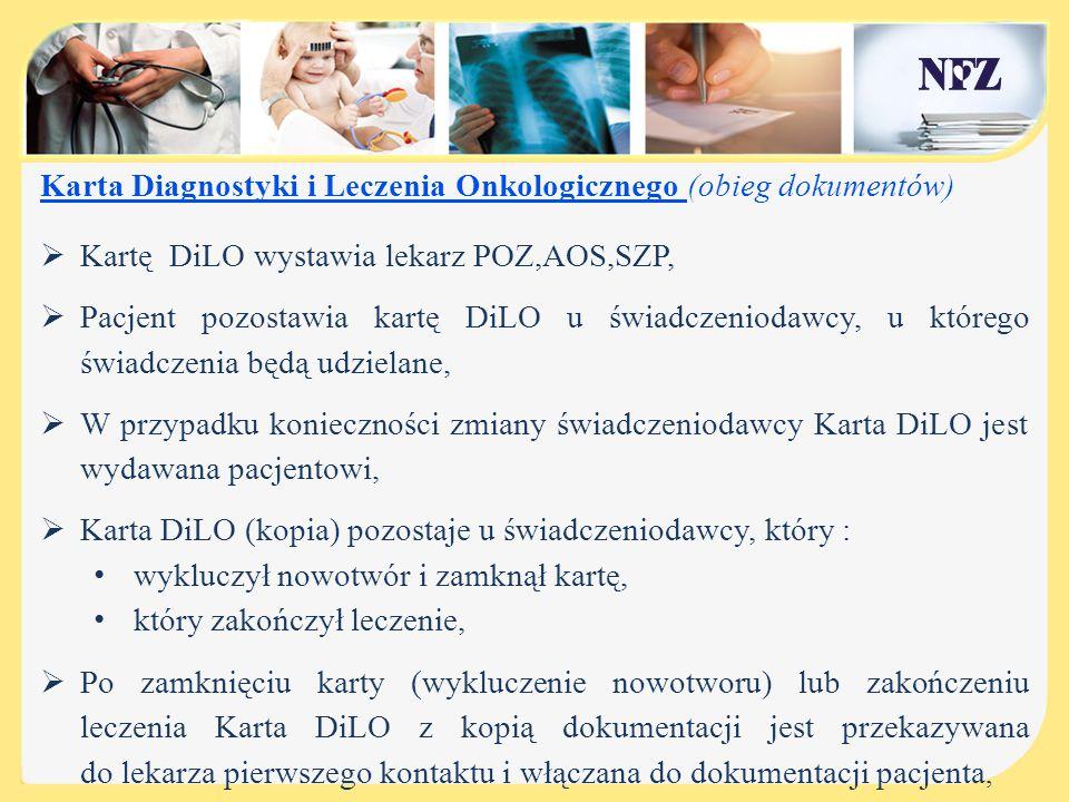 Karta Diagnostyki i Leczenia Onkologicznego (obieg dokumentów)  Kartę DiLO wystawia lekarz POZ,AOS,SZP,  Pacjent pozostawia kartę DiLO u świadczenio