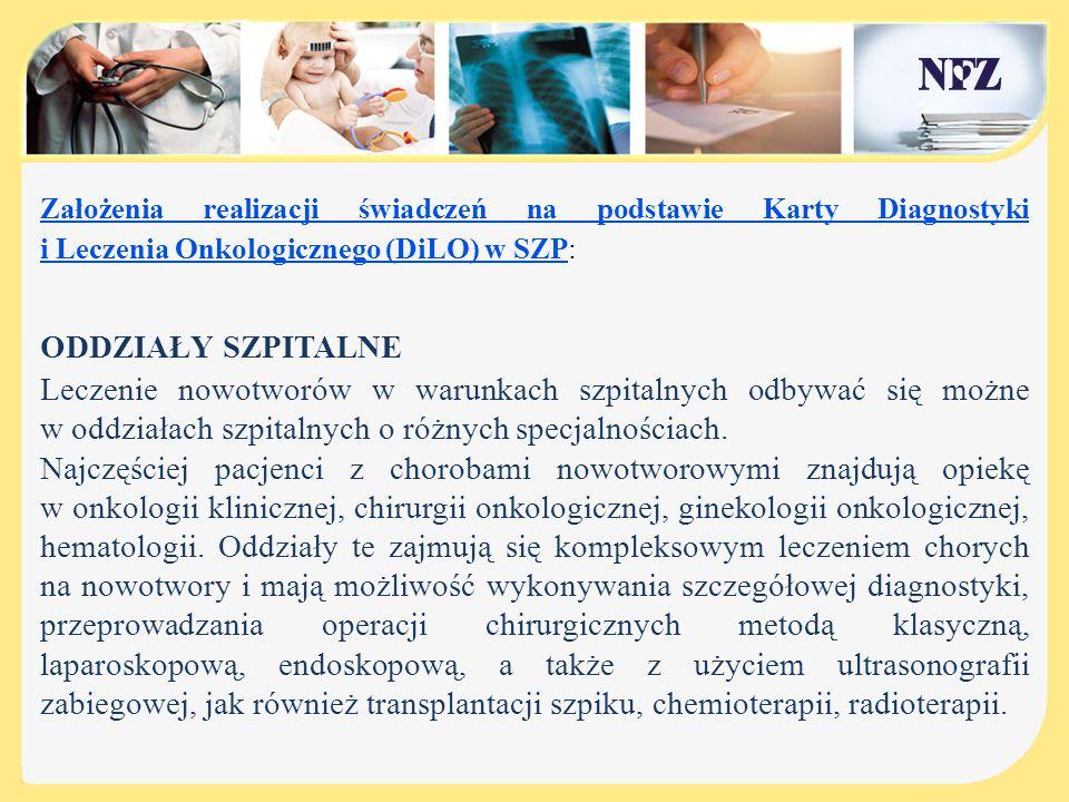Założenia realizacji świadczeń na podstawie Karty Diagnostyki i Leczenia Onkologicznego (DiLO) w SZP: ODDZIAŁY SZPITALNE Leczenie nowotworów w warunka