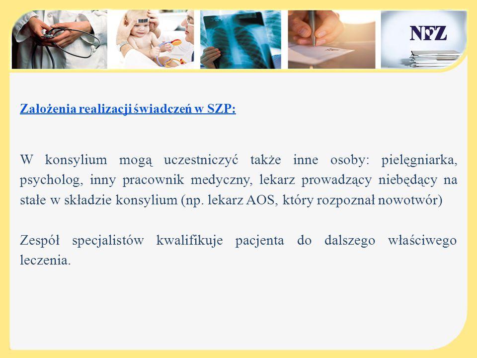 Założenia realizacji świadczeń w SZP: Koordynator Po określeniu ścieżki postępowania terapeutycznego konsylium wyznacza koordynatora.