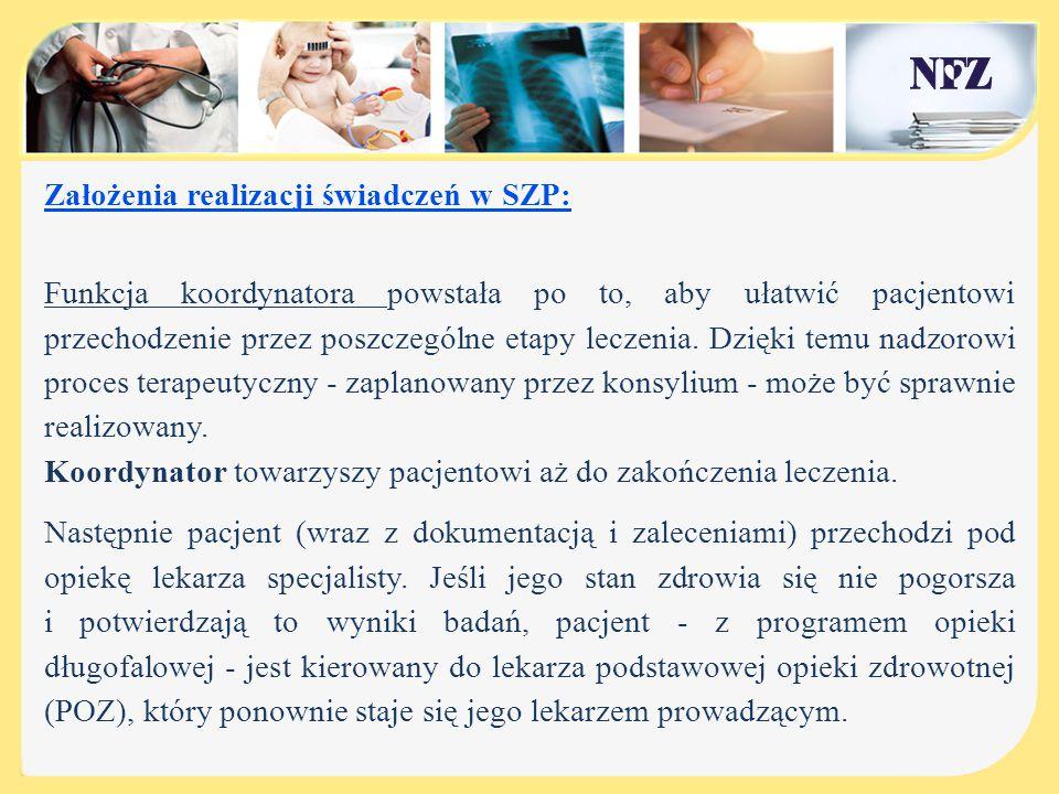 Założenia realizacji świadczeń w SZP: Funkcja koordynatora powstała po to, aby ułatwić pacjentowi przechodzenie przez poszczególne etapy leczenia. Dzi