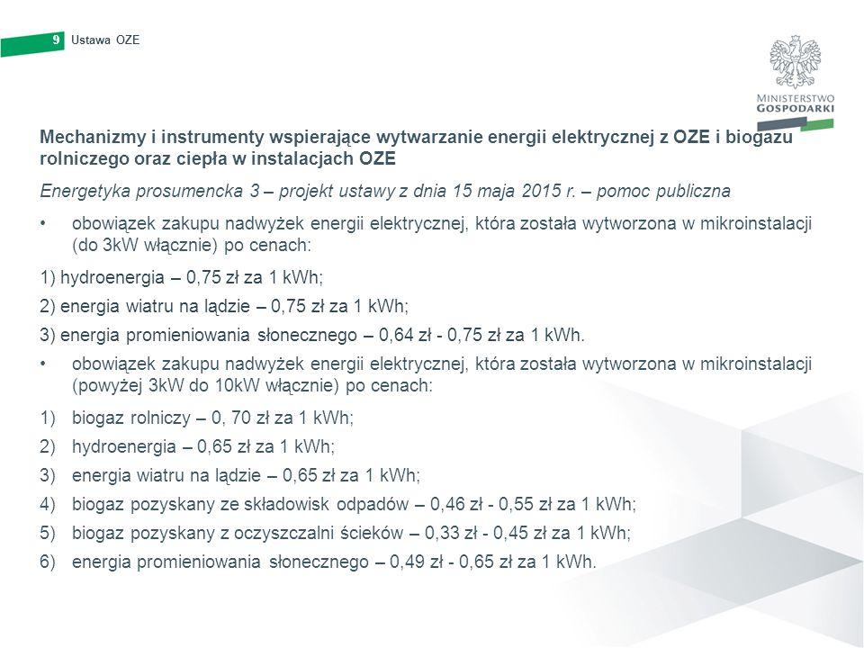 10Ustawa OZE10 Zasady wydawania gwarancji pochodzenia energii elektrycznej wytwarzanej z OZE Dokument potwierdzający, że wytwórca dostarczył do sieci dystrybucyjnej określoną ilość energii z OZE (bez praw majątkowych) Dokument ważny przez okres 12 miesięcy, wydawany w postaci elektronicznej, uznany w całej UE Proces wydawania jest zarządzany przez Urząd Regulacji Energetyki Krajowy plan działania w zakresie energii ze źródeł odnawialnych Określa krajowe cele i działania w zakresie udziału OZE w transporcie, energii elektrycznej oraz sektorze ogrzewania i chłodzenia do 2020 r Dokument jest przyjmowany przez Radę Ministrów Minister Gospodarki monitoruje Krajowy plan … oraz przygotowuje stosowne sprawozdania