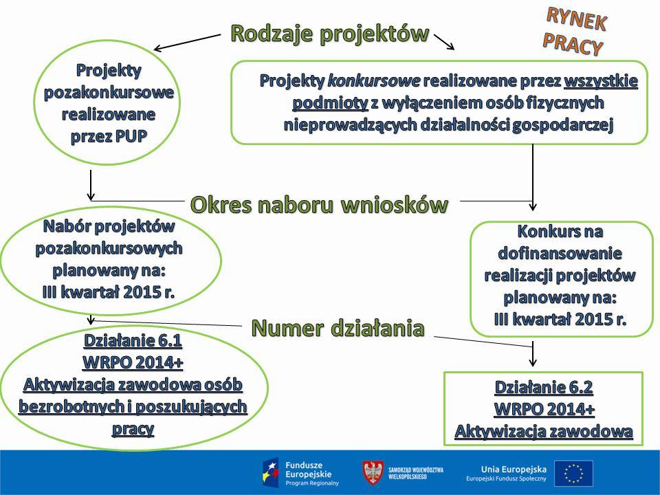 PRIORYTET INWESTYCYJNY 8i Alokacja 2014-2020: 141 411 765 EUR Działanie 6.1 projekty pozakonkursowe (80 000 000 EUR ) Nabór 2015 r.: II kwartał, alokacja 37 mln zł Działanie 6.2 projekty konkursowe (61 411 765 EUR ) Nabór 2015 r.: konkurs w III kwartale, alokacja 100 mln zł