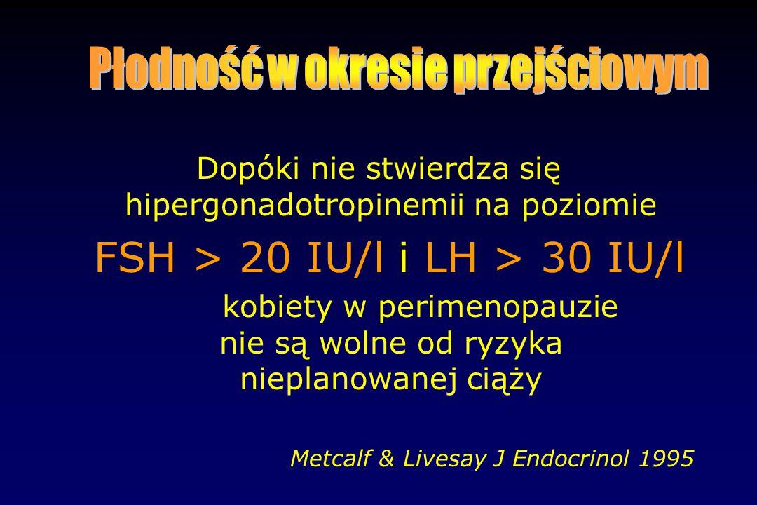 Dopóki nie stwierdza się hipergonadotropinemii na poziomie FSH > 20 IU/l i LH > 30 IU/l kobiety w perimenopauzie nie są wolne od ryzyka nieplanowanej