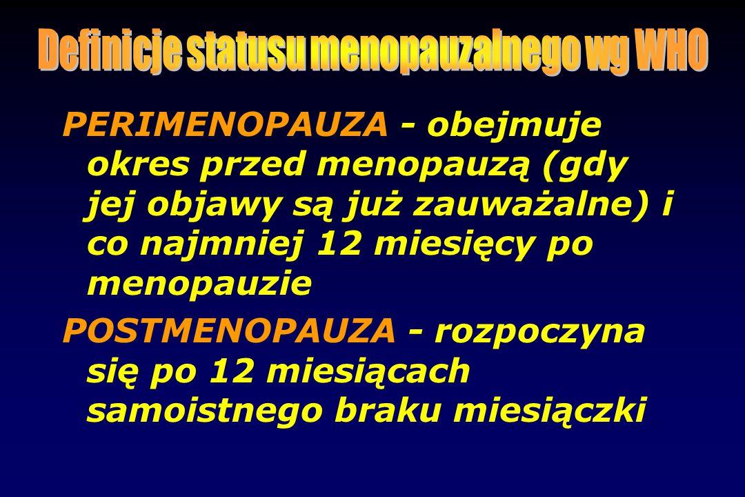 PERIMENOPAUZA - obejmuje okres przed menopauzą (gdy jej objawy są już zauważalne) i co najmniej 12 miesięcy po menopauzie POSTMENOPAUZA - rozpoczyna s
