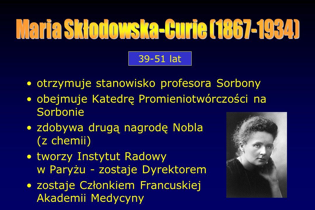 otrzymuje stanowisko profesora Sorbony obejmuje Katedrę Promieniotwórczości na Sorbonie zdobywa drugą nagrodę Nobla (z chemii) tworzy Instytut Radowy