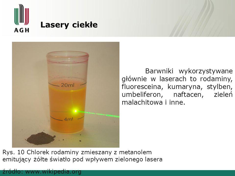 Lasery ciekłe Rys. 10 Chlorek rodaminy zmieszany z metanolem emitujący żółte światło pod wpływem zielonego lasera Barwniki wykorzystywane głównie w la