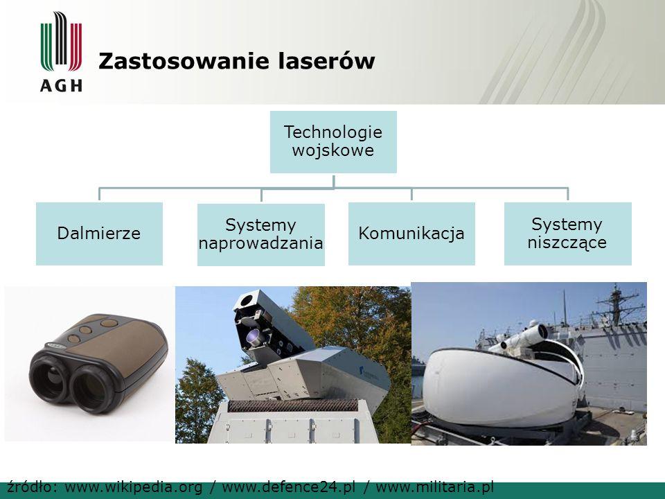 Zastosowanie laserów Technologie wojskowe Dalmierze Systemy naprowadzania Komunikacja Systemy niszczące źródło: www.wikipedia.org / www.defence24.pl /