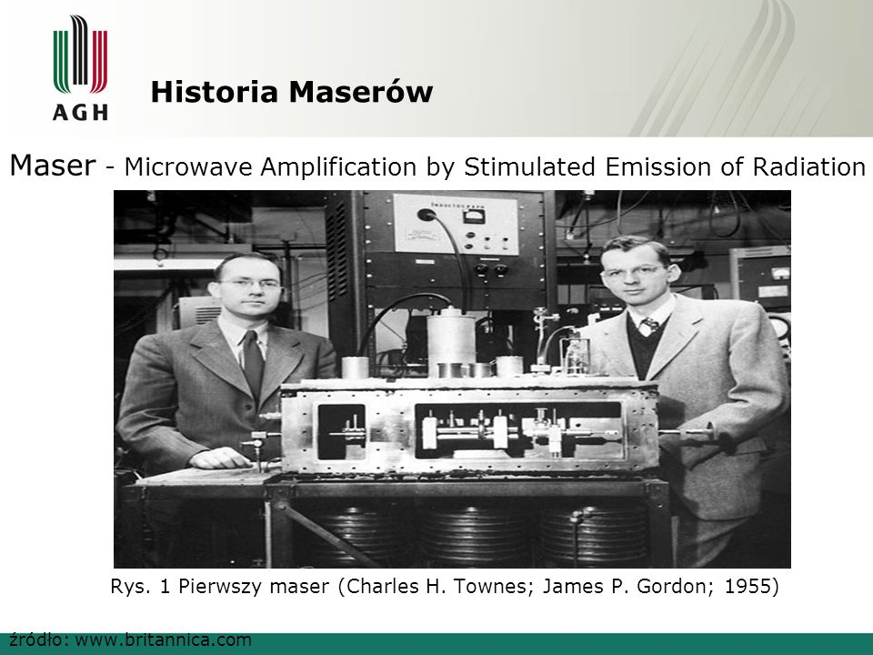Historia Maserów Maser - Microwave Amplification by Stimulated Emission of Radiation Rys.