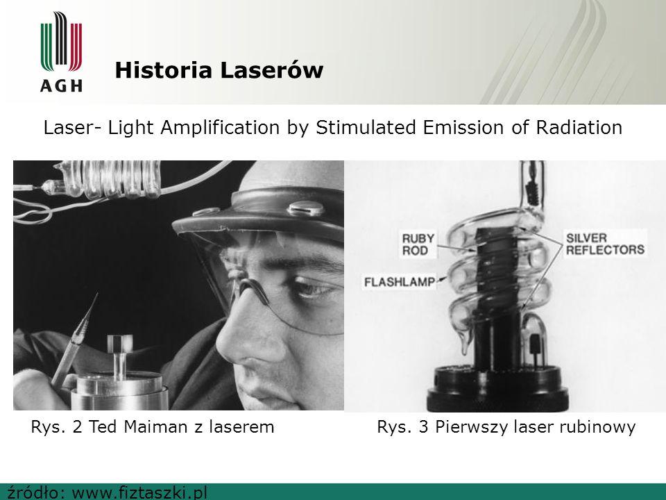 Historia Laserów Laser- Light Amplification by Stimulated Emission of Radiation źródło: www.fiztaszki.pl Rys. 2 Ted Maiman z laseremRys. 3 Pierwszy la