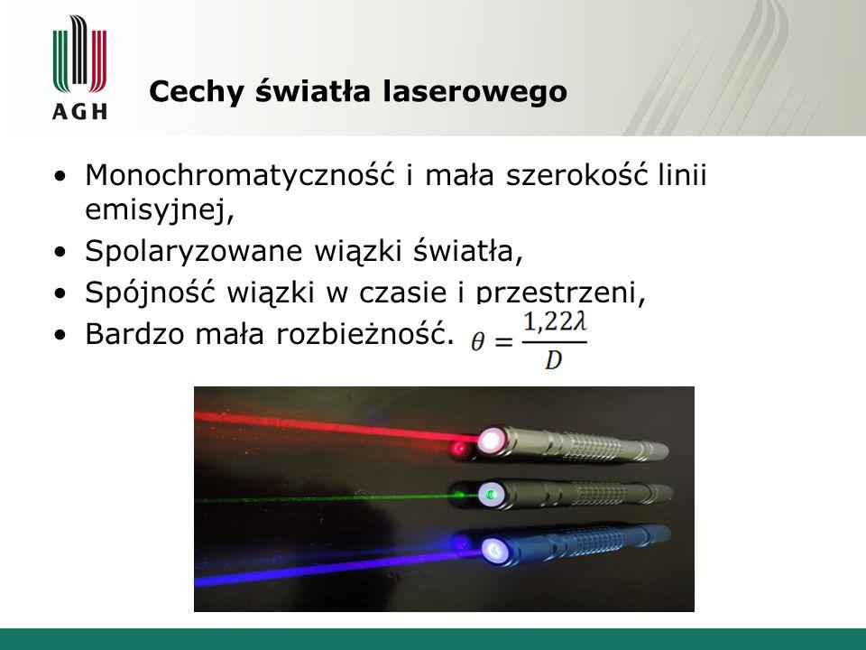Cechy światła laserowego Monochromatyczność i mała szerokość linii emisyjnej, Spolaryzowane wiązki światła, Spójność wiązki w czasie i przestrzeni, Ba