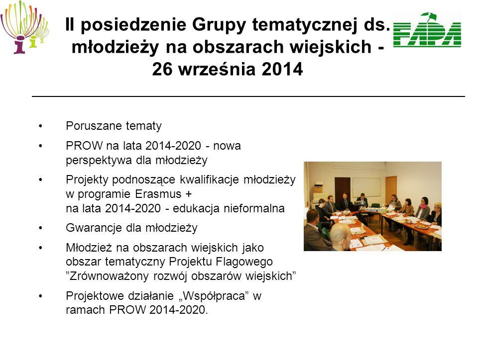 """Poruszane tematy PROW na lata 2014-2020 - nowa perspektywa dla młodzieży Projekty podnoszące kwalifikacje młodzieży w programie Erasmus + na lata 2014-2020 - edukacja nieformalna Gwarancje dla młodzieży Młodzież na obszarach wiejskich jako obszar tematyczny Projektu Flagowego Zrównoważony rozwój obszarów wiejskich Projektowe działanie """"Współpraca w ramach PROW 2014-2020."""