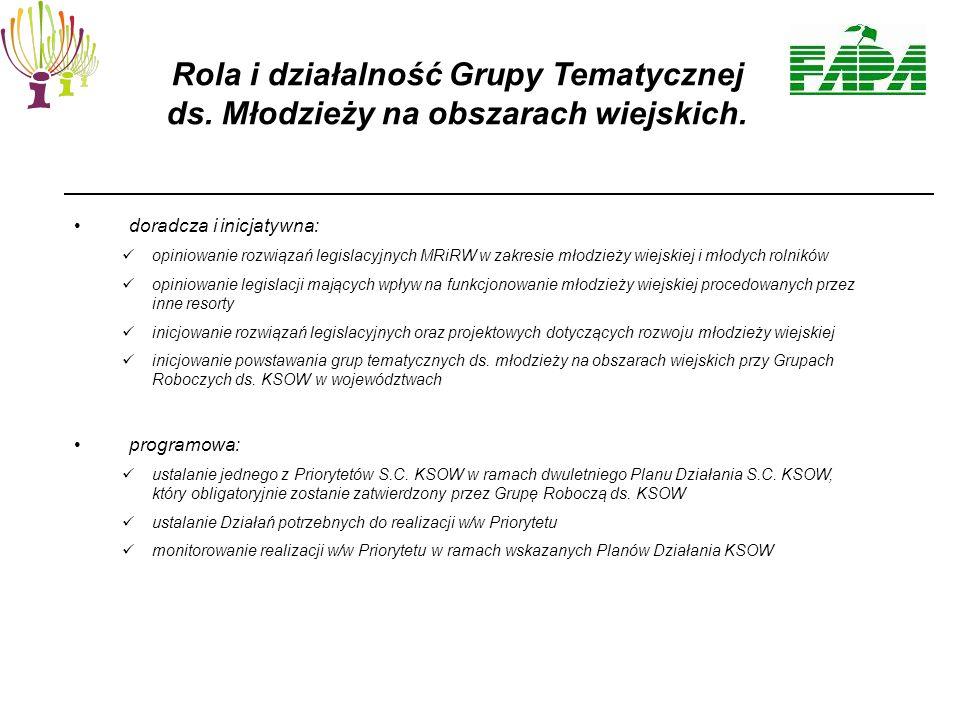 doradcza i inicjatywna: opiniowanie rozwiązań legislacyjnych MRiRW w zakresie młodzieży wiejskiej i młodych rolników opiniowanie legislacji mających wpływ na funkcjonowanie młodzieży wiejskiej procedowanych przez inne resorty inicjowanie rozwiązań legislacyjnych oraz projektowych dotyczących rozwoju młodzieży wiejskiej inicjowanie powstawania grup tematycznych ds.