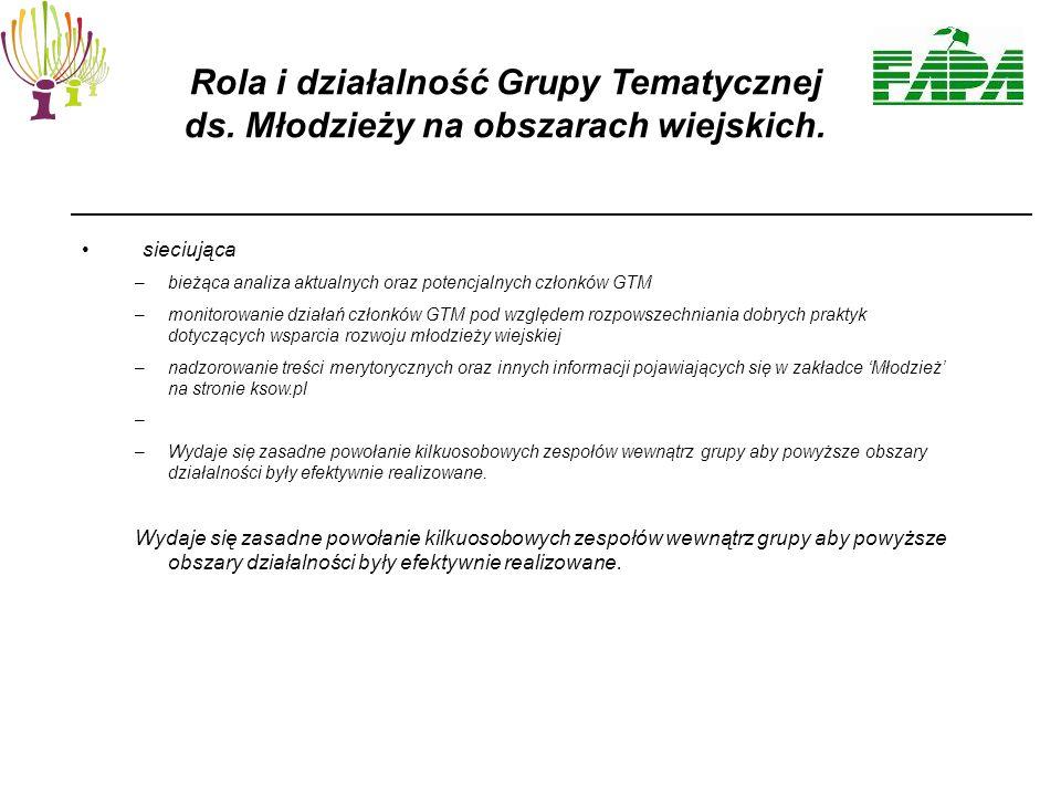 sieciująca –bieżąca analiza aktualnych oraz potencjalnych członków GTM –monitorowanie działań członków GTM pod względem rozpowszechniania dobrych praktyk dotyczących wsparcia rozwoju młodzieży wiejskiej –nadzorowanie treści merytorycznych oraz innych informacji pojawiających się w zakładce 'Młodzież' na stronie ksow.pl – –Wydaje się zasadne powołanie kilkuosobowych zespołów wewnątrz grupy aby powyższe obszary działalności były efektywnie realizowane.