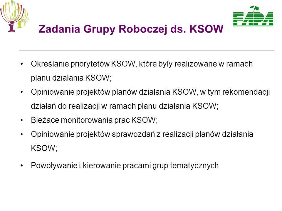 Określanie priorytetów KSOW, które były realizowane w ramach planu działania KSOW; Opiniowanie projektów planów działania KSOW, w tym rekomendacji działań do realizacji w ramach planu działania KSOW; Bieżące monitorowania prac KSOW; Opiniowanie projektów sprawozdań z realizacji planów działania KSOW; Powoływanie i kierowanie pracami grup tematycznych Zadania Grupy Roboczej ds.