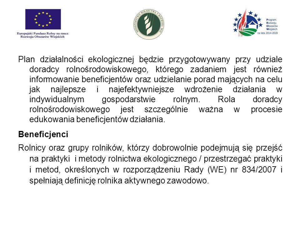 Poddziałanie: Płatności w okresie konwersji na rolnictwo ekologiczne Pakiety: 1.