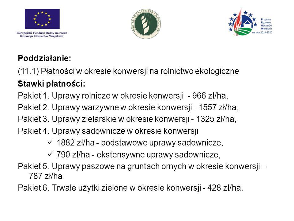 Poddziałanie: (11.1) Płatności w okresie konwersji na rolnictwo ekologiczne Stawki płatności: Pakiet 1. Uprawy rolnicze w okresie konwersji - 966 zł/h