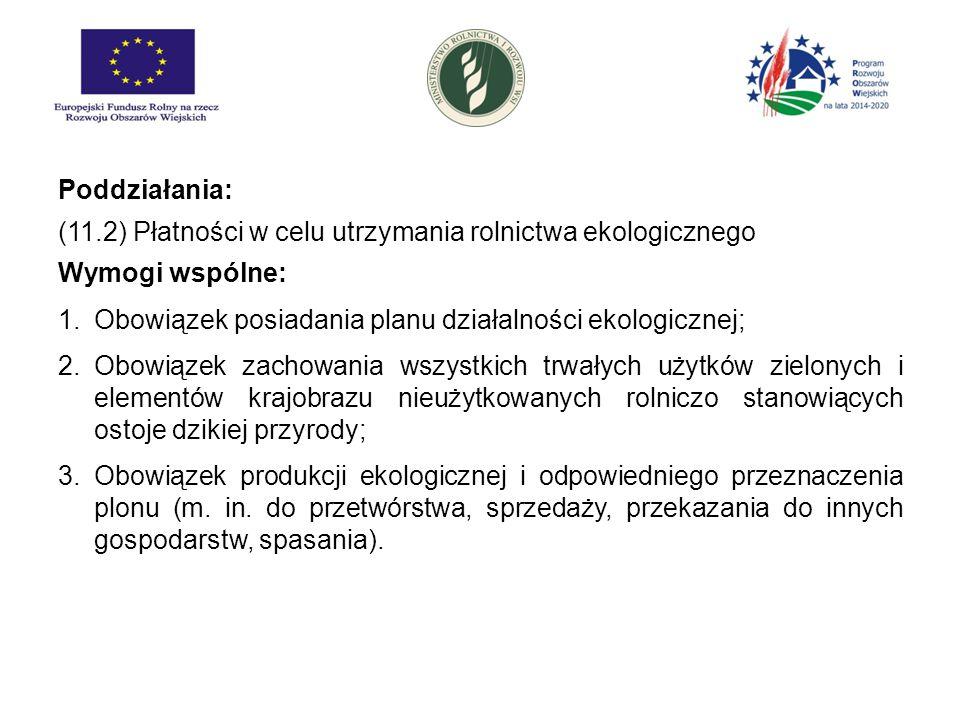 Poddziałania: (11.2) Płatności w celu utrzymania rolnictwa ekologicznego Wymogi wspólne: 1.Obowiązek posiadania planu działalności ekologicznej; 2.Obo