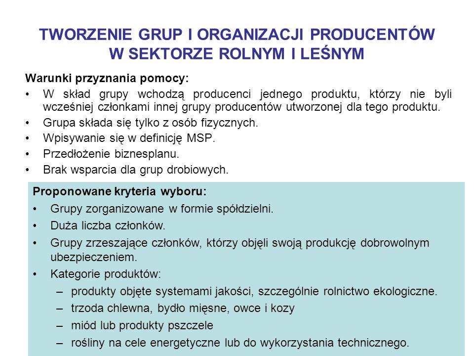 Warunki przyznania pomocy: W skład grupy wchodzą producenci jednego produktu, którzy nie byli wcześniej członkami innej grupy producentów utworzonej dla tego produktu.