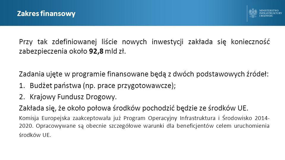 Zakres finansowy Przy tak zdefiniowanej liście nowych inwestycji zakłada się konieczność zabezpieczenia około 92,8 mld zł.
