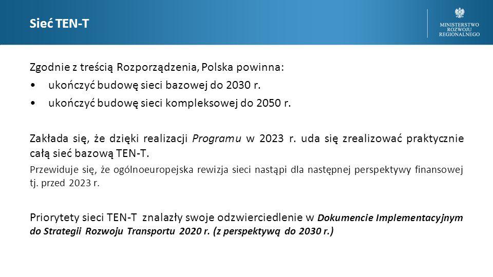 Sieć TEN-T Zgodnie z treścią Rozporządzenia, Polska powinna: ukończyć budowę sieci bazowej do 2030 r.