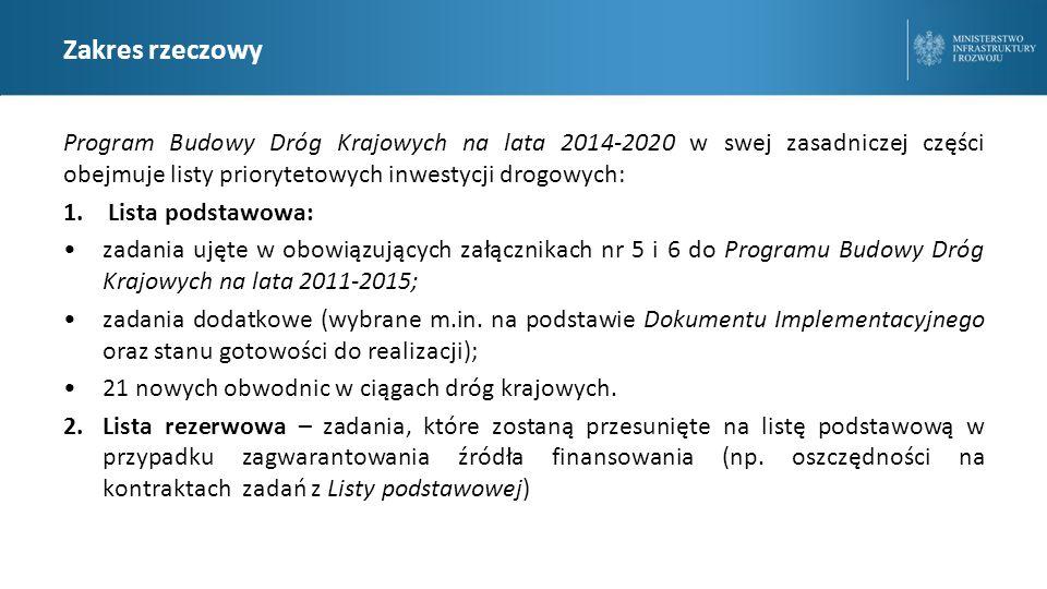 Zakres rzeczowy Program Budowy Dróg Krajowych na lata 2014-2020 w swej zasadniczej części obejmuje listy priorytetowych inwestycji drogowych: 1.