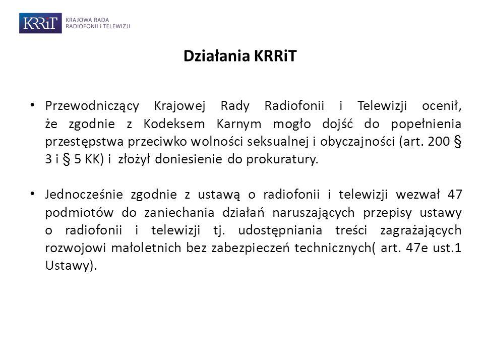 7 Działania KRRiT Przewodniczący Krajowej Rady Radiofonii i Telewizji ocenił, że zgodnie z Kodeksem Karnym mogło dojść do popełnienia przestępstwa przeciwko wolności seksualnej i obyczajności (art.
