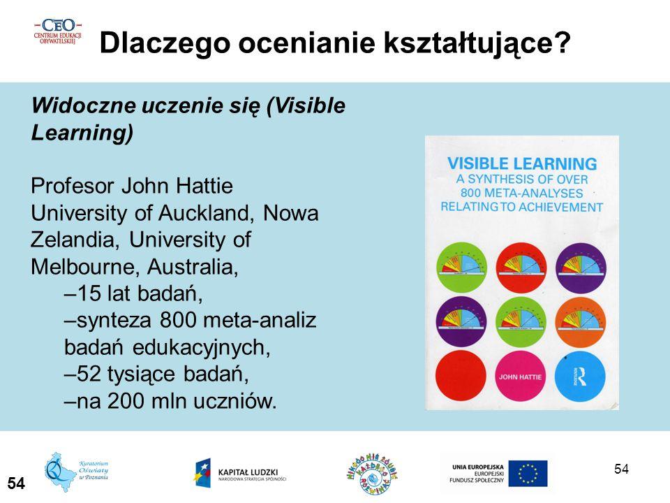 54 Dlaczego ocenianie kształtujące? 54 Widoczne uczenie się (Visible Learning) Profesor John Hattie University of Auckland, Nowa Zelandia, University