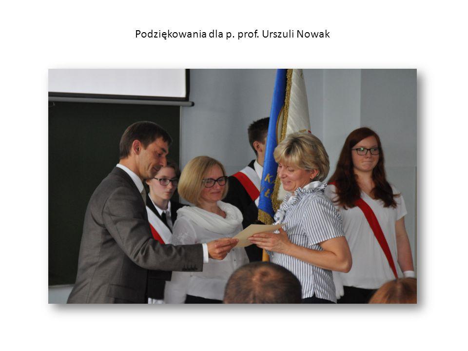 Podziękowania dla p. prof. Urszuli Nowak
