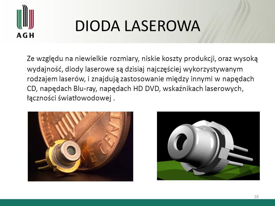 DIODA LASEROWA 18 Ze względu na niewielkie rozmiary, niskie koszty produkcji, oraz wysoką wydajność, diody laserowe są dzisiaj najczęściej wykorzystyw