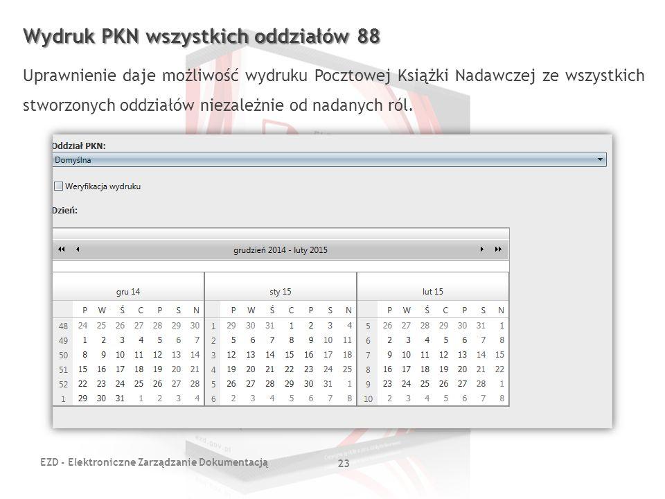 EZD - Elektroniczne Zarządzanie Dokumentacją 23 Wydruk PKN wszystkich oddziałów 88 Uprawnienie daje możliwość wydruku Pocztowej Książki Nadawczej ze w