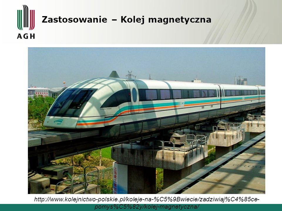 Zastosowanie – Kolej magnetyczna http://www.kolejnictwo-polskie.pl/koleje-na-%C5%9Bwiecie/zadziwiaj%C4%85ce- pomys%C5%82y/kolej-magnetyczna/